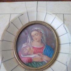 Arte: MINIATURA VIRGEN CON NIÑO. FINES DEL SIGLO XIX. FIRMADA MONTEL.. Lote 140278838