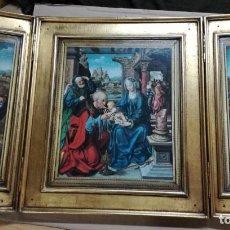 Arte: TRÍPTICO ANTIGUO DE LA ADORACIÓN DE LOS REYES MAGOS AL NIÑO JESUS.MADERA . Lote 140377282
