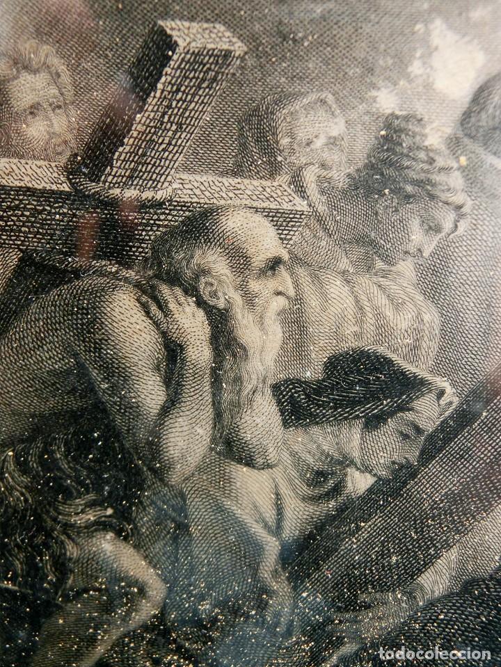 ANTIGUO Y PRECIOSO GRABADO RELIGIOSO - MARCO TIPO CAPILLA - JESÚS CAMINO DEL CIELO - FRANCÉS (Arte - Arte Religioso - Grabados)