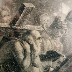 Arte: ANTIGUO Y PRECIOSO GRABADO RELIGIOSO - MARCO TIPO CAPILLA - JESÚS CAMINO DEL CIELO - FRANCÉS. Lote 140429282
