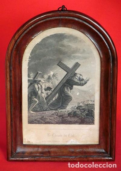 Arte: ANTIGUO Y PRECIOSO GRABADO RELIGIOSO - MARCO TIPO CAPILLA - JESÚS CAMINO DEL CIELO - FRANCÉS - Foto 2 - 140429282