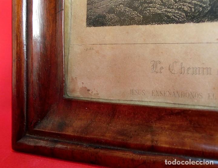 Arte: ANTIGUO Y PRECIOSO GRABADO RELIGIOSO - MARCO TIPO CAPILLA - JESÚS CAMINO DEL CIELO - FRANCÉS - Foto 5 - 140429282