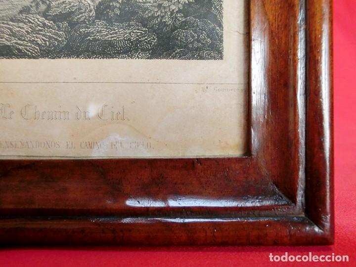 Arte: ANTIGUO Y PRECIOSO GRABADO RELIGIOSO - MARCO TIPO CAPILLA - JESÚS CAMINO DEL CIELO - FRANCÉS - Foto 8 - 140429282