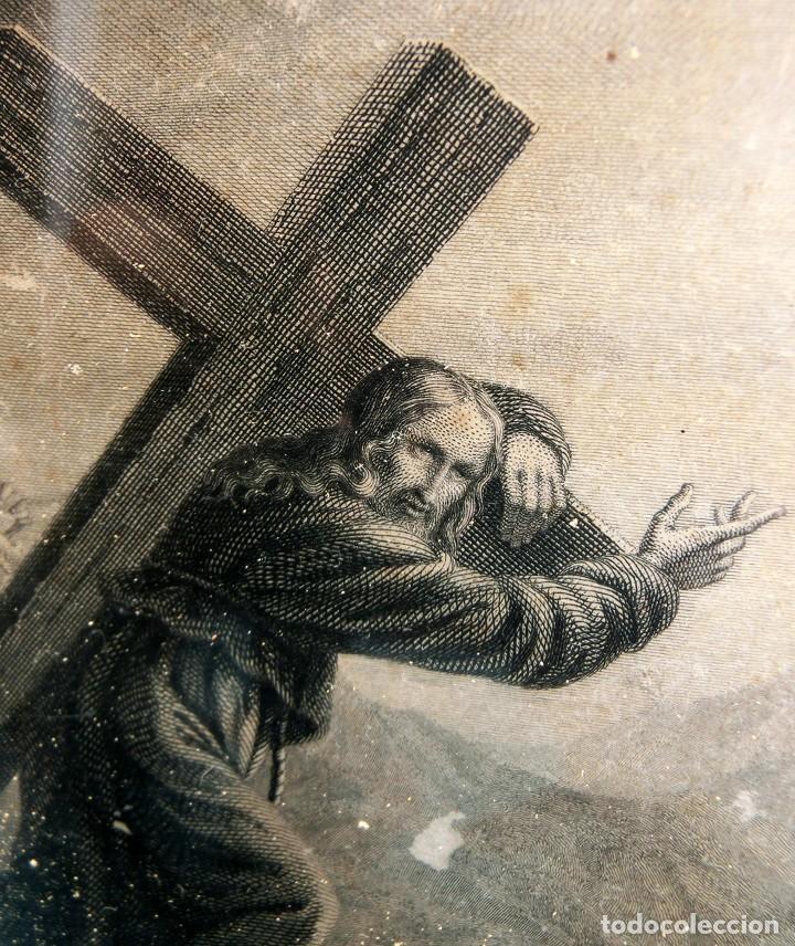 Arte: ANTIGUO Y PRECIOSO GRABADO RELIGIOSO - MARCO TIPO CAPILLA - JESÚS CAMINO DEL CIELO - FRANCÉS - Foto 10 - 140429282