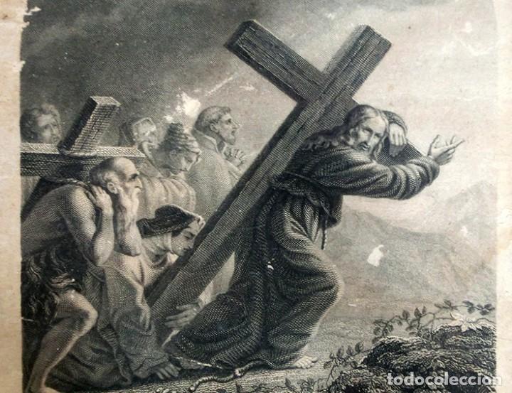 Arte: ANTIGUO Y PRECIOSO GRABADO RELIGIOSO - MARCO TIPO CAPILLA - JESÚS CAMINO DEL CIELO - FRANCÉS - Foto 14 - 140429282