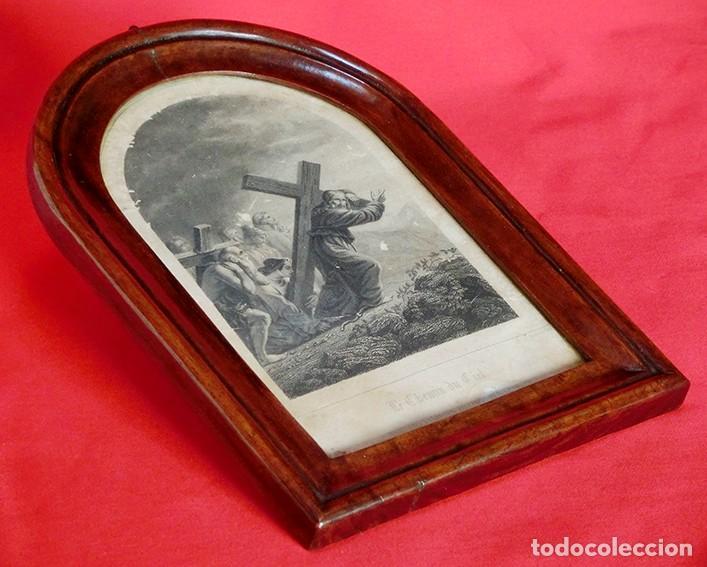 Arte: ANTIGUO Y PRECIOSO GRABADO RELIGIOSO - MARCO TIPO CAPILLA - JESÚS CAMINO DEL CIELO - FRANCÉS - Foto 15 - 140429282