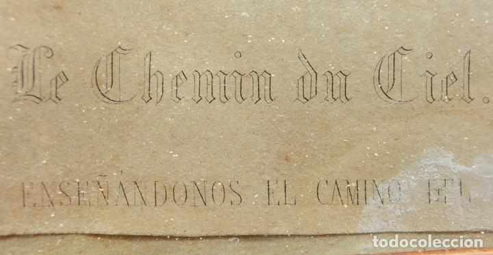 Arte: ANTIGUO Y PRECIOSO GRABADO RELIGIOSO - MARCO TIPO CAPILLA - JESÚS CAMINO DEL CIELO - FRANCÉS - Foto 16 - 140429282