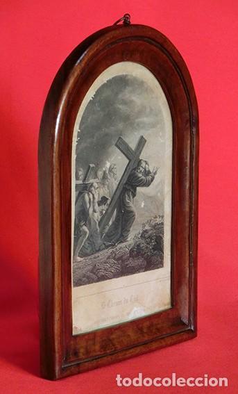Arte: ANTIGUO Y PRECIOSO GRABADO RELIGIOSO - MARCO TIPO CAPILLA - JESÚS CAMINO DEL CIELO - FRANCÉS - Foto 17 - 140429282