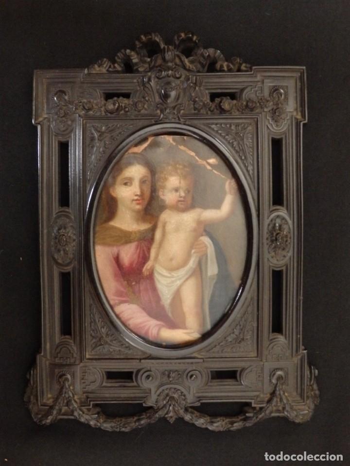 Arte: La Virgen con el NIño. Óleo sobre cobre del siglo XVIII. - Foto 5 - 140441962