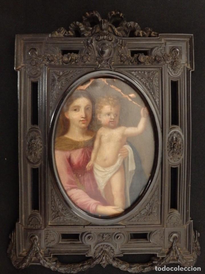 Arte: La Virgen con el NIño. Óleo sobre cobre del siglo XVIII. - Foto 6 - 140441962