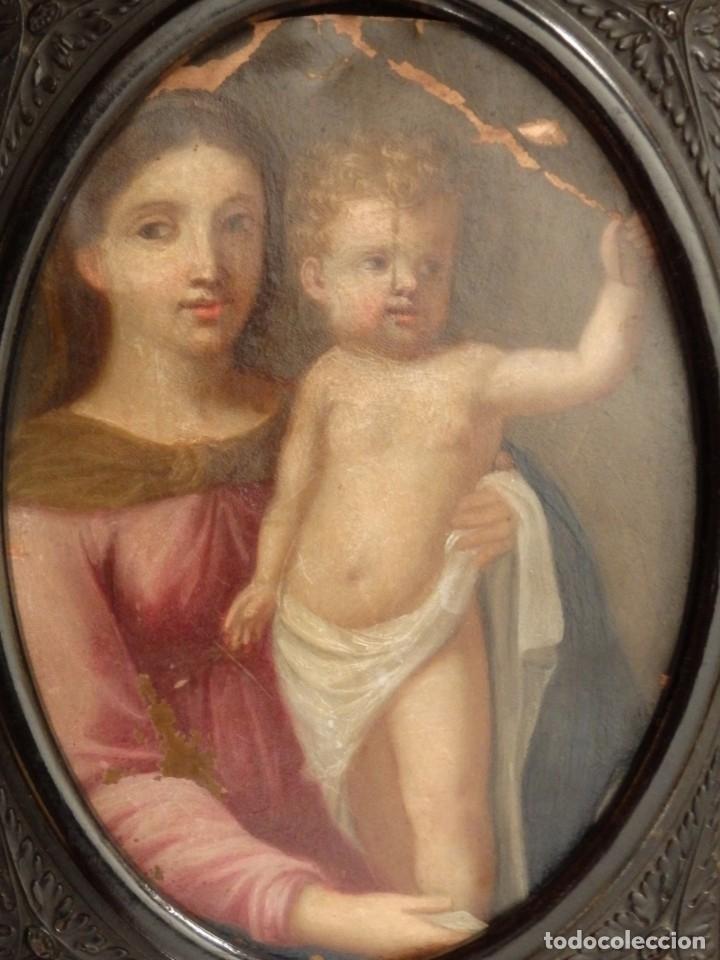 Arte: La Virgen con el NIño. Óleo sobre cobre del siglo XVIII. - Foto 8 - 140441962