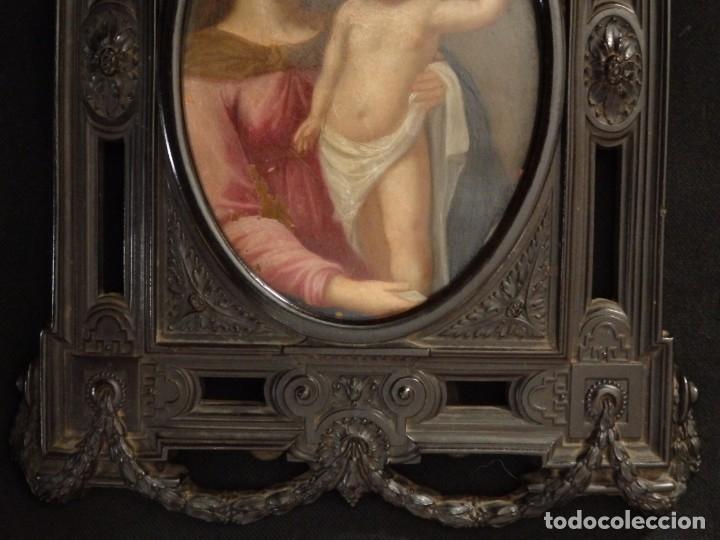 Arte: La Virgen con el NIño. Óleo sobre cobre del siglo XVIII. - Foto 9 - 140441962