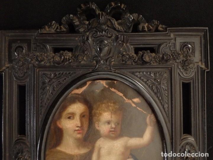 Arte: La Virgen con el NIño. Óleo sobre cobre del siglo XVIII. - Foto 10 - 140441962