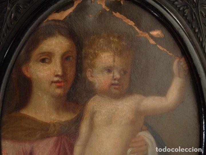 Arte: La Virgen con el NIño. Óleo sobre cobre del siglo XVIII. - Foto 13 - 140441962