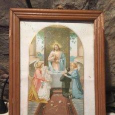 Arte: ANTIGUO CUADRO RELIGIOSO RECUERDO DE PRIMERA COMUNIÓN A DIA 30 DE MAYO DE 1909 EN MONTOLIU . Lote 140448110