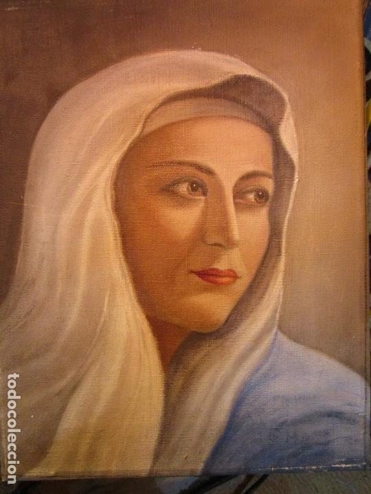Arte: ANTIGUA PINTURA VIRGEN OLEO EN LIENZO CIRCULO DE GASTON CASTELLO ? ALICANTE - Foto 14 - 140466186