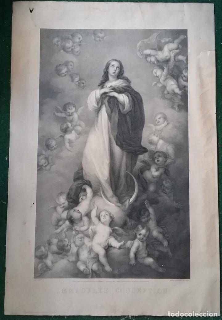 GRABADO ORIGINAL FINALES S. XIX - LA INMACULADA CONCEPCIÓN DE MURILLO - IMPRESO POR GOUPIL (Arte - Arte Religioso - Grabados)