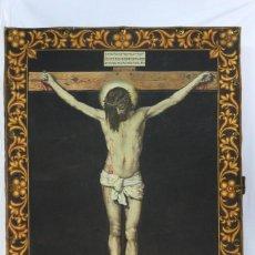 Arte: TAPIZ PINTADO A MANO FIRMADO LG BENAVENTE. CRISTO SOBRE BASTIDOR DE MADERA, ÓLEO. PPS SXX. Lote 140562530
