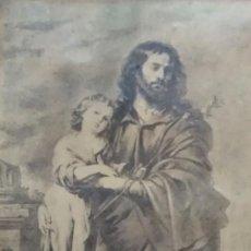 Arte: SAN JOSÉ Y EL NIÑO DIOS. LITOGRAFÍA DESPUÉS DE MURILLO. Lote 140585590