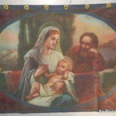 Arte: GRAN TAPIZ PINTADO A MANO, PIGMENTOS NATURALES SOBRE LINO, NACIMIENTO, SAGRADA FAMILIA, S XIX . Lote 140692898