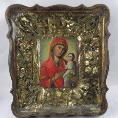 Arte: ICONO DE VITRINA RUSO. VIRGEN Y NIÑO JESUS. RUSIA SIGLO XIX, PRECIOSO MARCO DE MADERA, LA PINTURA PA. Lote 140720754