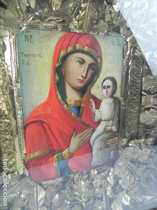 Arte: ICONO DE VITRINA RUSO. VIRGEN Y NIÑO JESUS. RUSIA SIGLO XIX, PRECIOSO MARCO DE MADERA, LA PINTURA PA - Foto 3 - 140720754