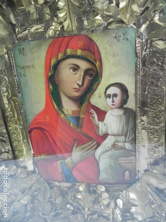 Arte: ICONO DE VITRINA RUSO. VIRGEN Y NIÑO JESUS. RUSIA SIGLO XIX, PRECIOSO MARCO DE MADERA, LA PINTURA PA - Foto 4 - 140720754