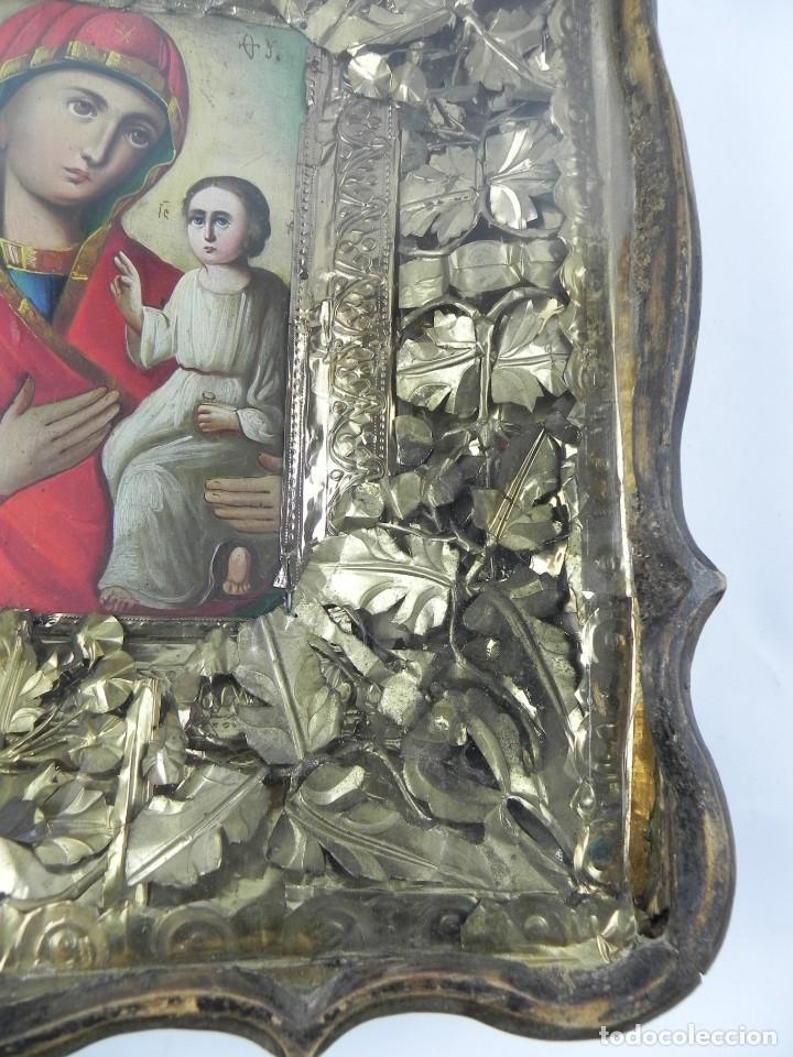 Arte: ICONO DE VITRINA RUSO. VIRGEN Y NIÑO JESUS. RUSIA SIGLO XIX, PRECIOSO MARCO DE MADERA, LA PINTURA PA - Foto 6 - 140720754