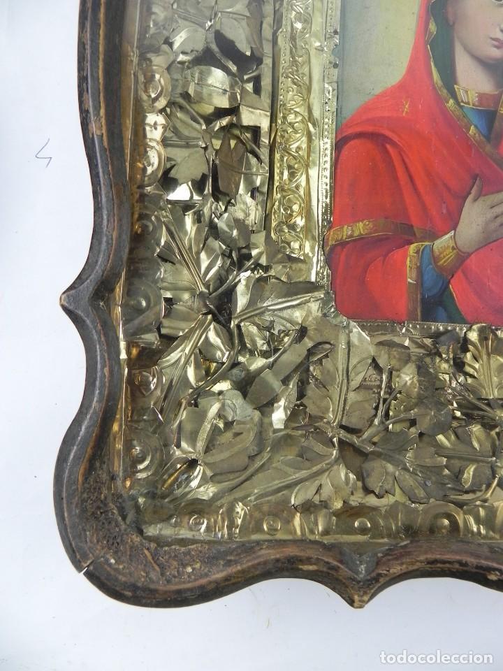 Arte: ICONO DE VITRINA RUSO. VIRGEN Y NIÑO JESUS. RUSIA SIGLO XIX, PRECIOSO MARCO DE MADERA, LA PINTURA PA - Foto 7 - 140720754