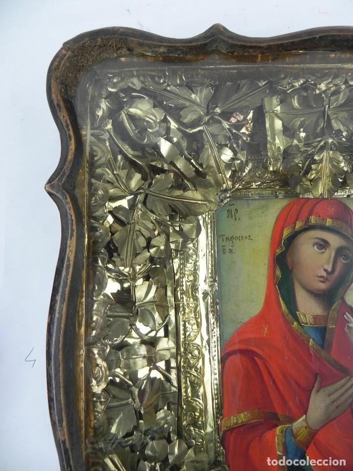 Arte: ICONO DE VITRINA RUSO. VIRGEN Y NIÑO JESUS. RUSIA SIGLO XIX, PRECIOSO MARCO DE MADERA, LA PINTURA PA - Foto 8 - 140720754