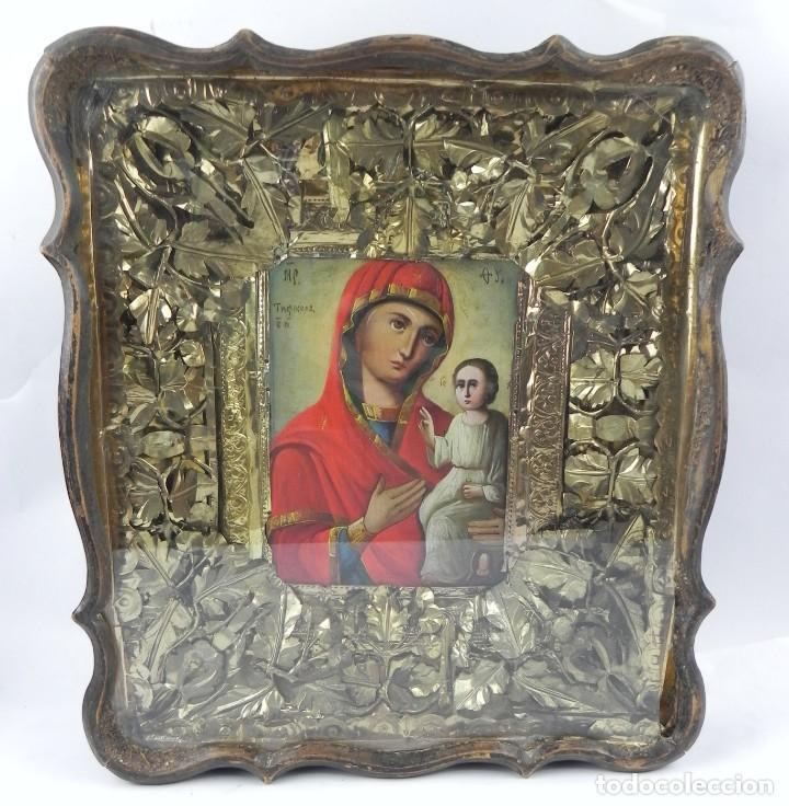 Arte: ICONO DE VITRINA RUSO. VIRGEN Y NIÑO JESUS. RUSIA SIGLO XIX, PRECIOSO MARCO DE MADERA, LA PINTURA PA - Foto 2 - 140720754