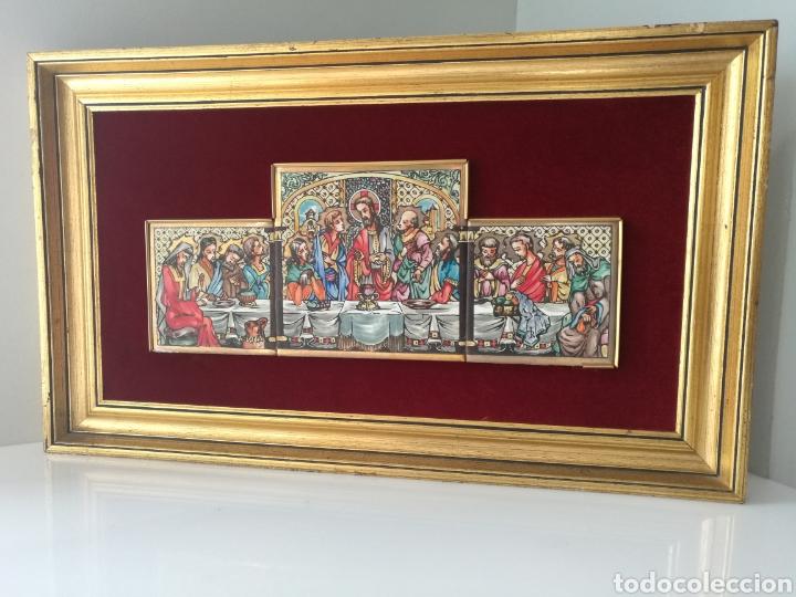 SANTA CENA PINTADA SOBRE RETABLO DE AZULEJOS (Arte - Arte Religioso - Pintura Religiosa - Oleo)
