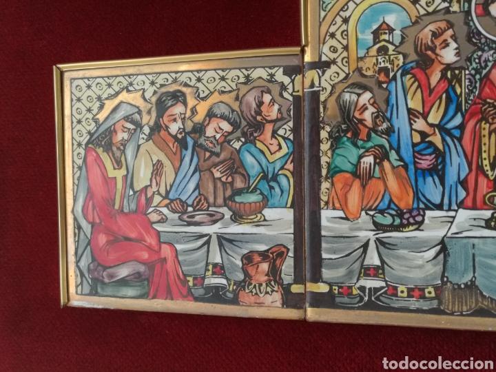 Arte: SANTA CENA PINTADA SOBRE RETABLO DE AZULEJOS - Foto 4 - 140734548