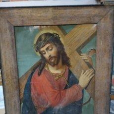 Arte: LITOGRAFIA RELIGIOSA ENMARCADA, JESUCRISTO, 42X50. Lote 140746788