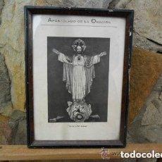 Arte: LITOGRAFÍA ANTIGUA EN BLANCO Y NEGRO DEL SAGRADO CORAZÓN ENMARCADA. Lote 140755358