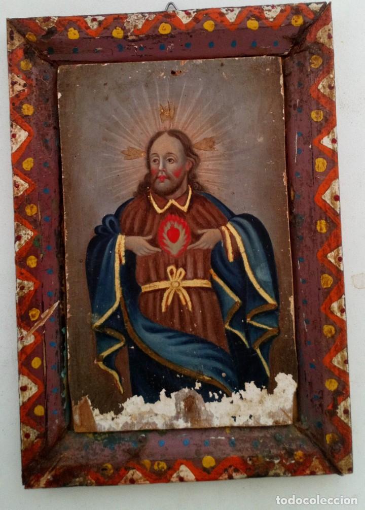 ANTIGUO RETABLO CORAZÓN DE JESÚS PINTADO SOBRE MADERA (Arte - Arte Religioso - Retablos)