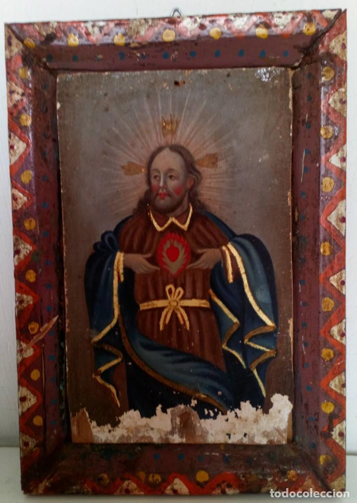 Arte: ANTIGUO RETABLO CORAZÓN DE JESÚS PINTADO SOBRE MADERA - Foto 3 - 140755446