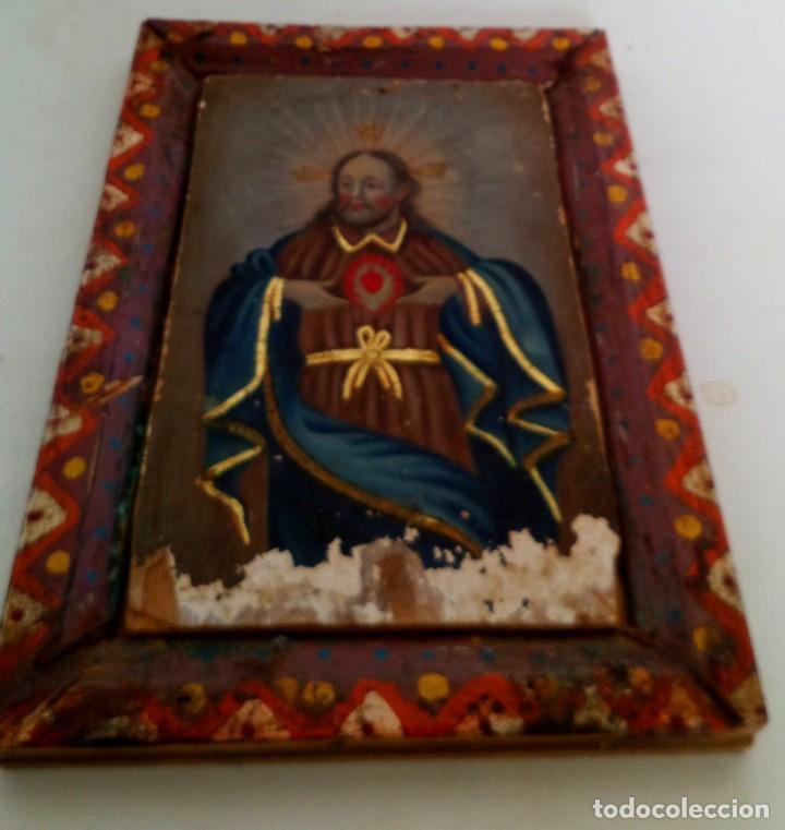 Arte: ANTIGUO RETABLO CORAZÓN DE JESÚS PINTADO SOBRE MADERA - Foto 4 - 140755446