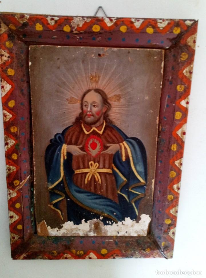 Arte: ANTIGUO RETABLO CORAZÓN DE JESÚS PINTADO SOBRE MADERA - Foto 6 - 140755446