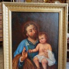 Arte: ANTIGUA PINTURA AL OLEO ORIGINAL SIGLO XIX , SAN JOSE Y JESUS - FIRMADA Y DATADA- ESPAÑOLA. Lote 140772102