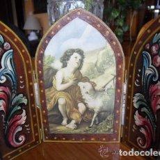 Arte: TRÍPTICO DE MADERA PINTADO A MANO Y ESTAMPA DE SAN JUAN BAUTISTA ANTIGUO. Lote 140772442
