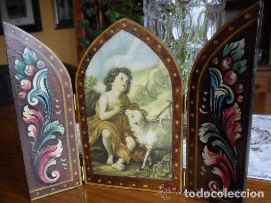 Arte: TRÍPTICO DE MADERA PINTADO A MANO Y ESTAMPA DE SAN JUAN BAUTISTA ANTIGUO - Foto 3 - 140772442