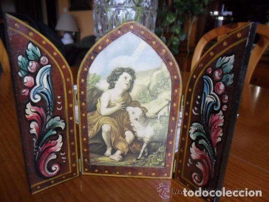 Arte: TRÍPTICO DE MADERA PINTADO A MANO Y ESTAMPA DE SAN JUAN BAUTISTA ANTIGUO - Foto 8 - 140772442