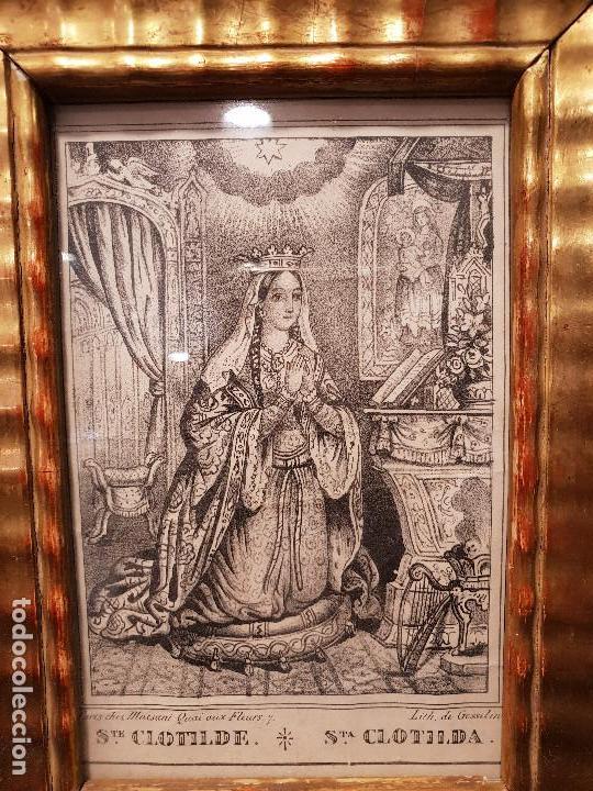Arte: Santa Clotilde. Grabado con marco dorado. - Foto 2 - 140783726