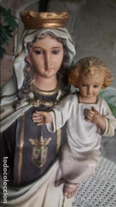ANTIGUA VIRGEN DEL CARMEN CON NIÑO JESÚS Y ESCAPULARIOS DE OLOT LOS AÑOS 20-30 (Arte - Arte Religioso - Escultura)