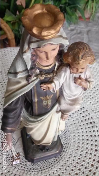 Arte: Antigua Virgen del Carmen con niño Jesús y escapularios de Olot los años 20-30 - Foto 6 - 140805134