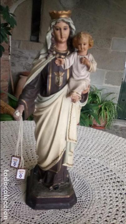 Arte: Antigua Virgen del Carmen con niño Jesús y escapularios de Olot los años 20-30 - Foto 7 - 140805134