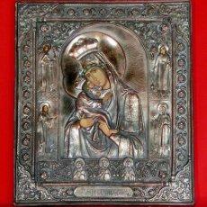 Arte: ICONO RELIGIOSO - VIRGEN CON NIÑO - PROFUSAMENTE DECORADO - SANTOS Y SANTAS - ÁNGELES - RARO. Lote 140812062