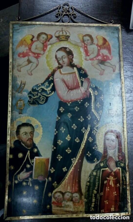 OLEO SOBRE LIENZO VIRGEN INMACULADA (Arte - Arte Religioso - Pintura Religiosa - Oleo)