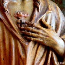 Arte: IMPRESIONANTE TALLA DE MADERA - SAGRADO CORAZÓN - ARTE RELIGIOSO - PIEZA DE CALIDAD - TALLER. Lote 140838714